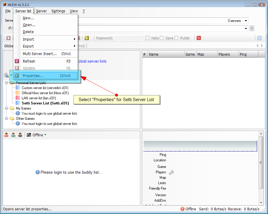 Using Hlsw With Setti Server List | Setti